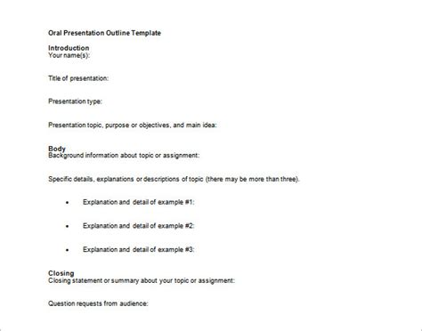presentation outline templates presentation outline template 24 free sle exle