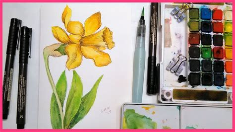 watercolor daffodil tutorial daffodil pen ink watercolor tutorial real time for