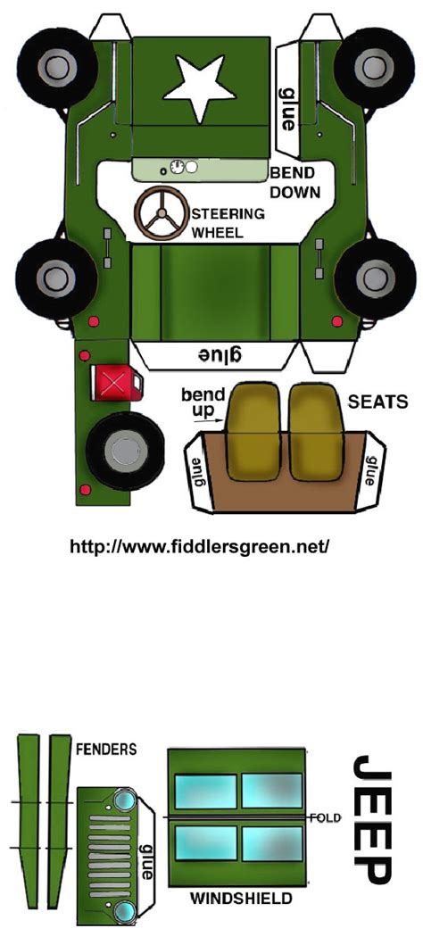 safari jeep craft vehicle fold up printable safari pinterest jeeps