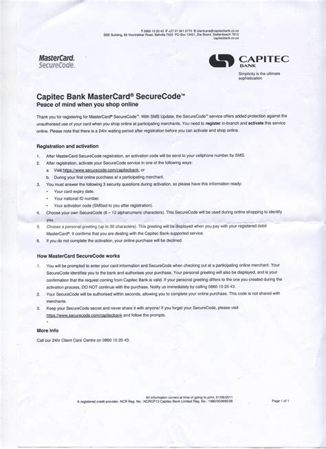 Credit Card Activation Letter To Bank How To Activate The Capitec Mastercard Securecode