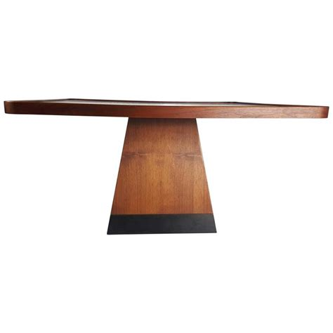 post modern satinwood cocktail table pyramid base philippe