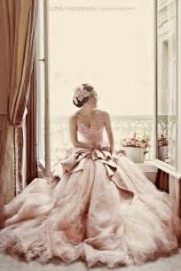 wedding dress photography pale pink strapless sweetheart neckline and tulle gown wedding dress