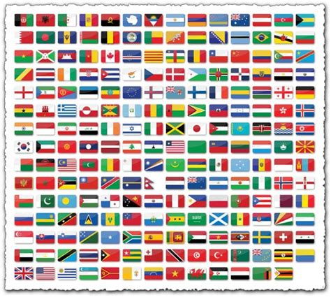 flags of the world round 209 glossy world flags with shadow and round corners