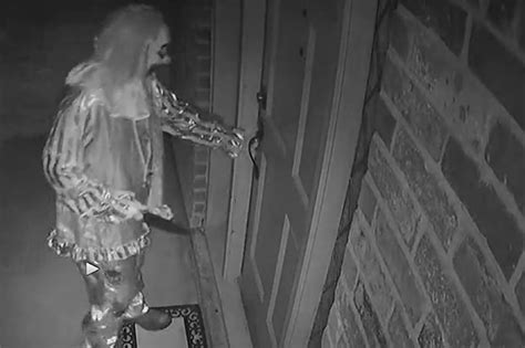 how to break into house clown with huge knife caught on cctv trying to break into family home daily star