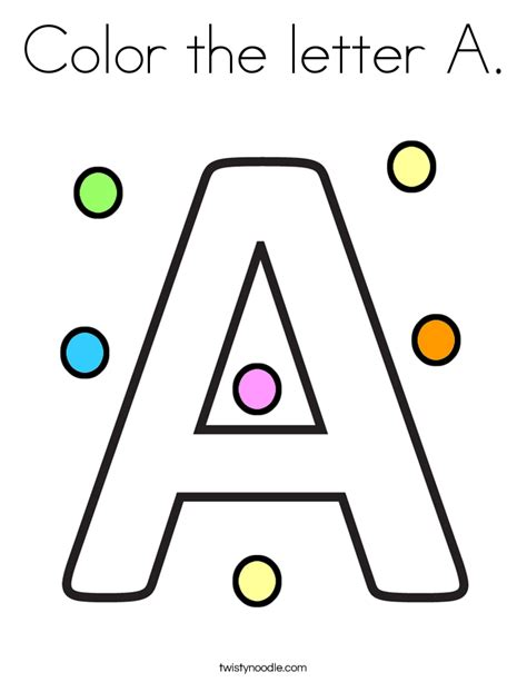 5 letter colors color the letter a coloring page twisty noodle
