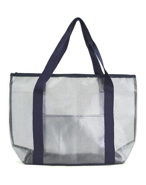 mesh tote bag practical pvc and mesh tote bag navy