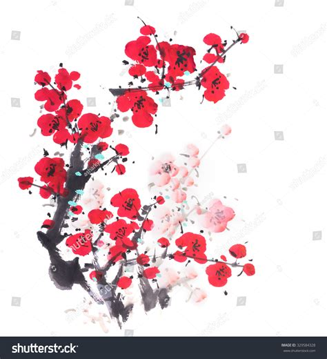 new year flower painting painting of flowers plum blossom on white