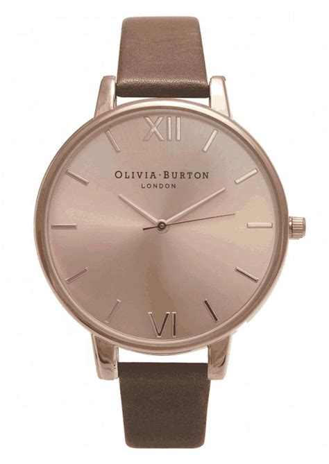 Burton Ol013 Rosegold D burton big gold brown time is money watches