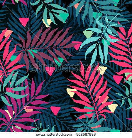 abstract jungle pattern decorative colorful palm tree foliage tropical stock