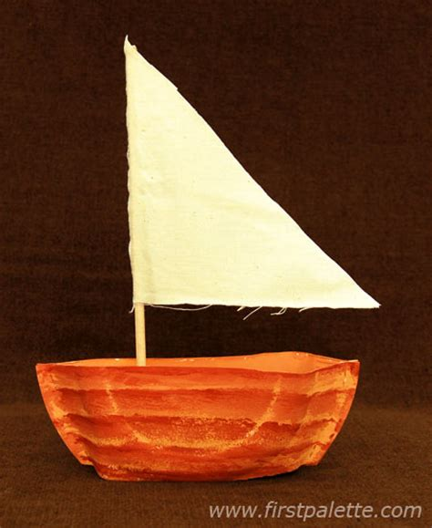 Paper Canoe Craft - paper plate sailboat craft crafts firstpalette