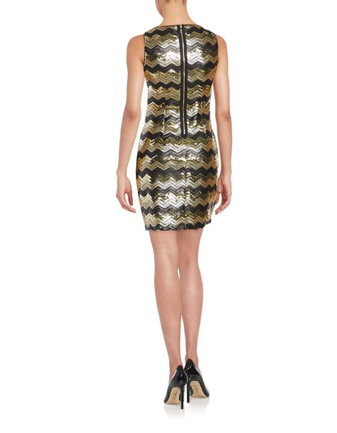 Guess Fashion Gold White guess sequined sheath dress in gold gold black lyst