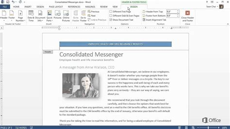 header footer design microsoft word training create your first word 2013 document headers