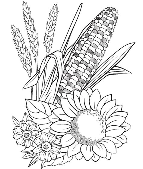 corn coloring pages corn and flowers coloring page crayola