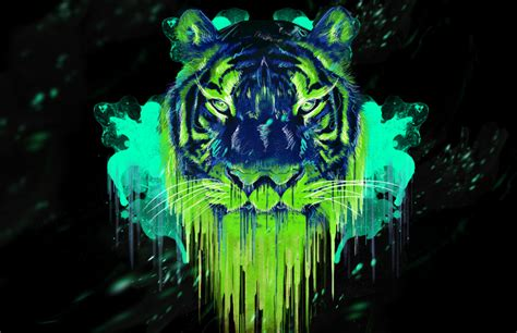Kaos 3d Tiger Neon an awesome neon tiger by metalstormkid on deviantart