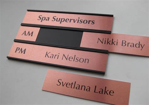 Handmade Name Signs - interchangeable name plates custom office signs salon