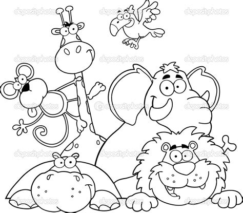 printable coloring pages jungle animals safari coloring page outlined jungle animals stock