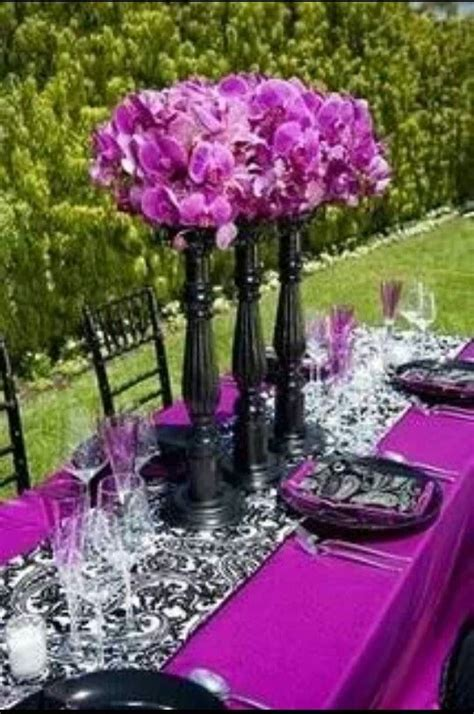 Purple black and white table decor   Everything Wedding