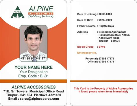 free employee business cards templates id card coimbatore ph 97905 47171 beautiful photo id