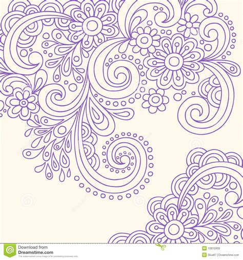 doodle henna abstract swirls vector stock vector image