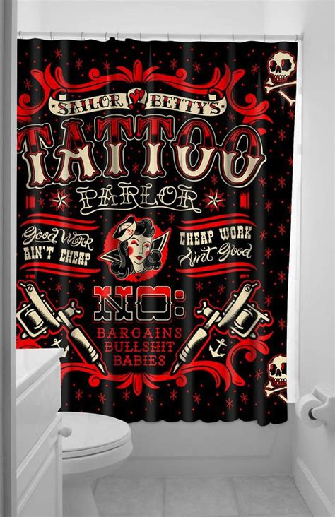 Inked Boutique Sailor Betty Shower Curtain Tattoo Parlor