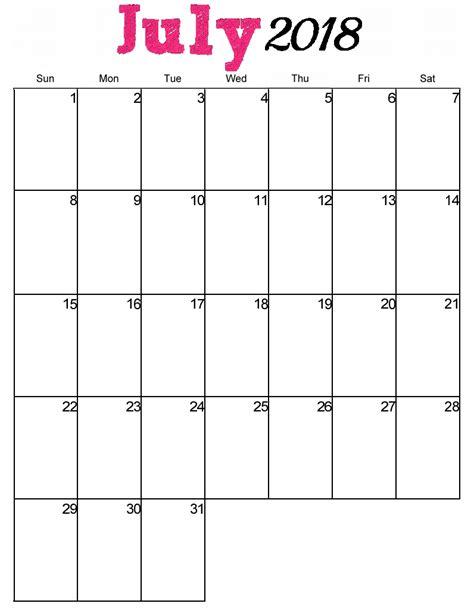 July 2018 Calendar Printable Free