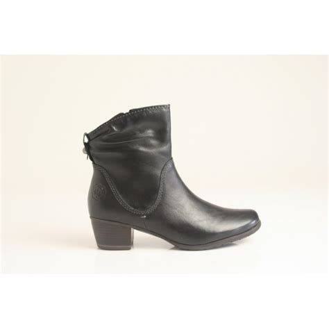 marco tozzi black zip up leather ankle boot with anti