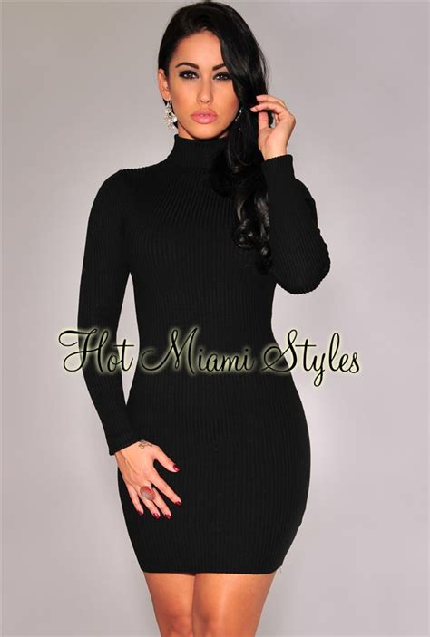 Ribbed Knit Sleeve Dress black knit ribbed turtleneck sleeves dress