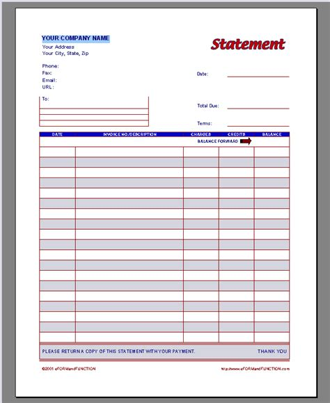 statement card template invoice statement template free printable invoice
