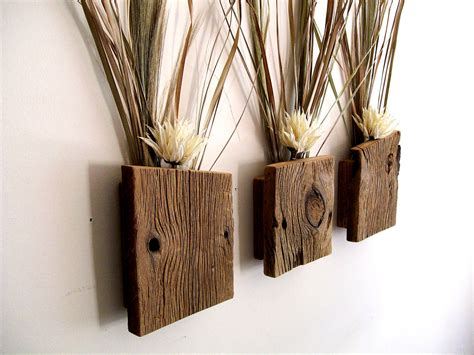 Decorative Wall Sconces For Plants Set Of 3 Rustic Reclaimed Barn Wood Wall Vase Flower