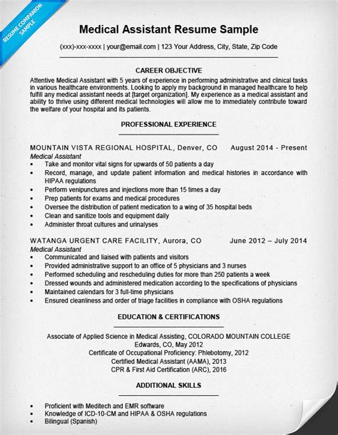 medical assistant resume sle resume companion