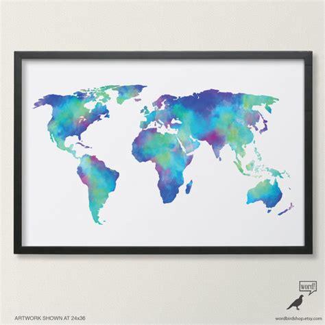 printable world map a1 aquarell weltkarte in navy blau indigo petrol kobalt t 252 rkis