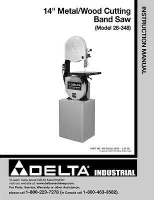 Delta 28 560 16 Quot Wood Metal Cutting Band Saw Instruction