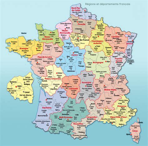 carte de france divisions regions departements  villes