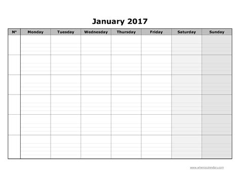 Calendar 2017 Printable Blank Blank Calendar January 2017 Template Printable