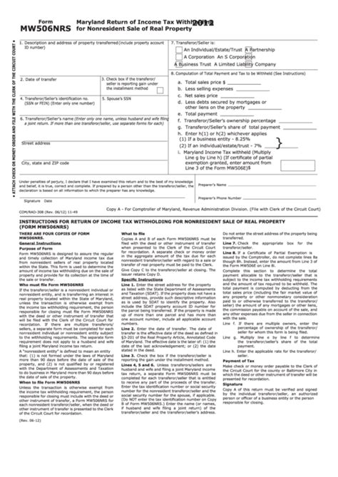 form mw506nrs maryland return of income tax withholding