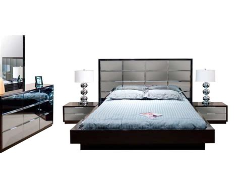 bedroom set with mirror headboard modern black bedroom mena with mirrored headboard