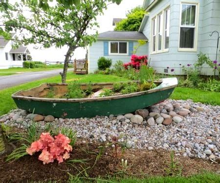 old boat flower bed classic nautical curb appeal ideas from cannon beach