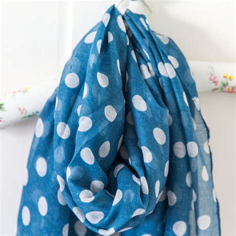 blue and white spotty scarf by anusha notonthehighstreet