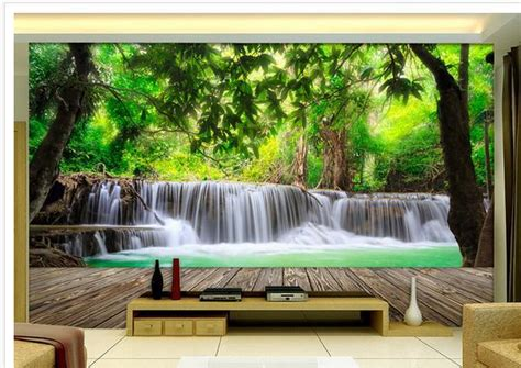 wallpaper sticker dinding 3d hutan kayu air terjun pemandangan 3d wallpaper mural