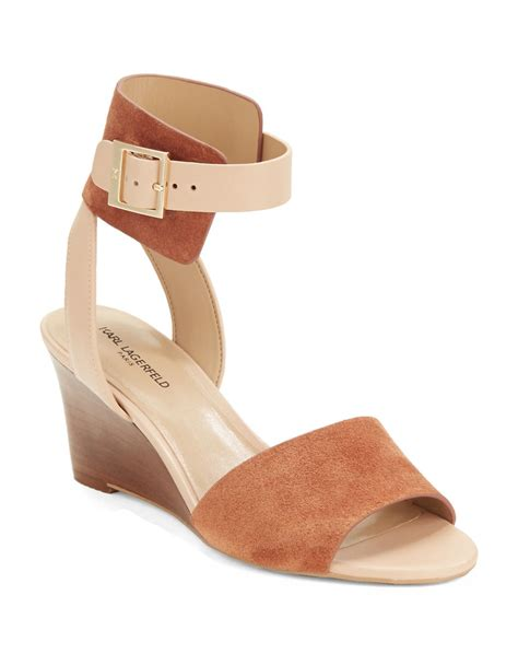 Hk Wedges Suede 2 karl lagerfeld amelie two tone suede sandal wedges in