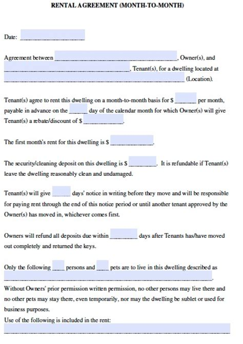 printable rental agreement month to month rental lease agreement template for month to month rental