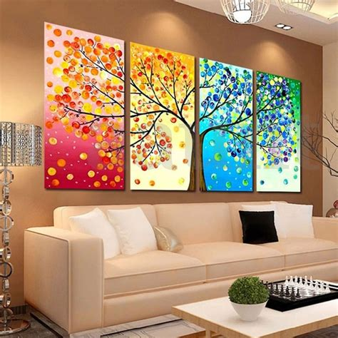 home wall decor 4pcs colorful season tree canvas painting print picture