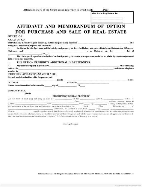 sle of memorandum printable affadavit memorandum of option 2 agreement template 2015 sle forms 2015