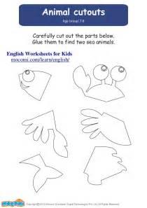 animal cutouts english worksheets for kids mocomi com