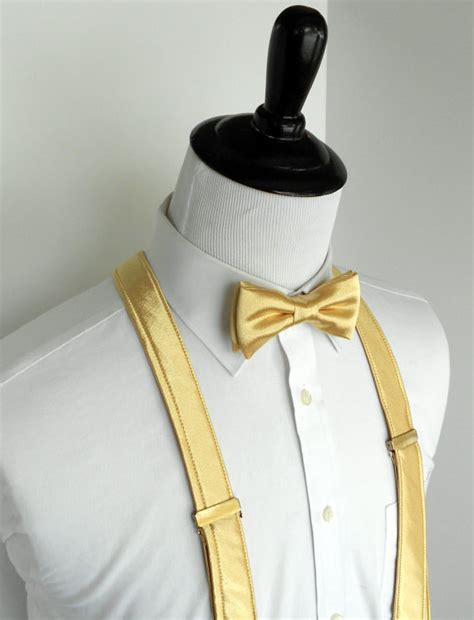 gold satin bowtie and suspenders set infant toddler boy