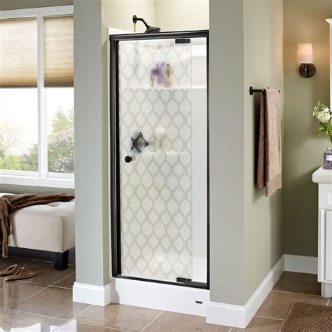 Frameless Glass Shower Doors Home Depot Delta Silverton 31 In X 66 In Semi Frameless Pivot Shower Door In Bronze With Ojo Glass 170271