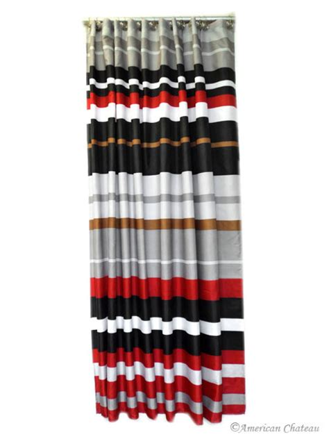 red grey and black curtains red black grey horizontal stripe fabric shower curtain