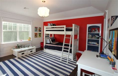 boys bedroom in white and blue with bunk beds and