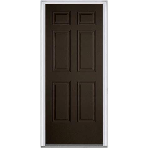 Exterior Door Swing Milliken Millwork 36 In X 80 In Left Inswing 6 Panel Classic Painted Fiberglass Smooth