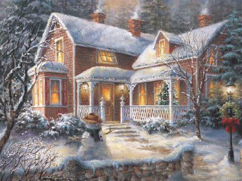 christmas homes paintings of christmas christmas painting wallpaper